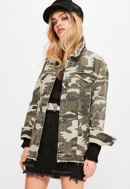 Khaki Camouflage Raw Edge Trucker Jacket