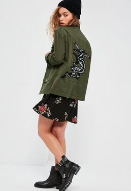 Veste vert kaki oversize style militaire