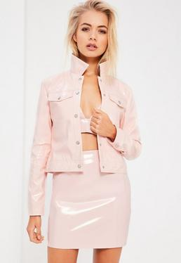 Galore Pink Patent Faux Leather Jacket