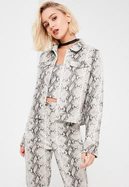 Galore Grey Snake Print Faux Leather Jacket