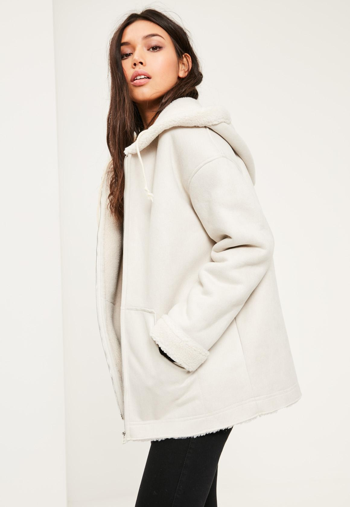 White Zip Through Faux Shearling Jacket | Missguided