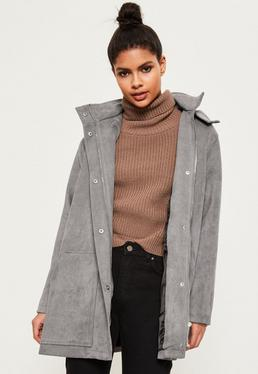 Grey Oversized Hooded Faux Suede Jacket