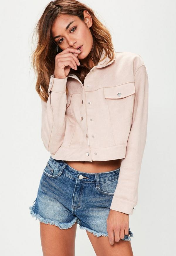 Pink Crop Faux Suede Trucker Jacket