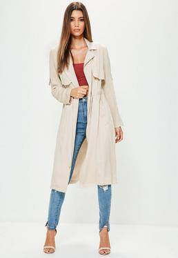 Grey Drawcord Trench Coat