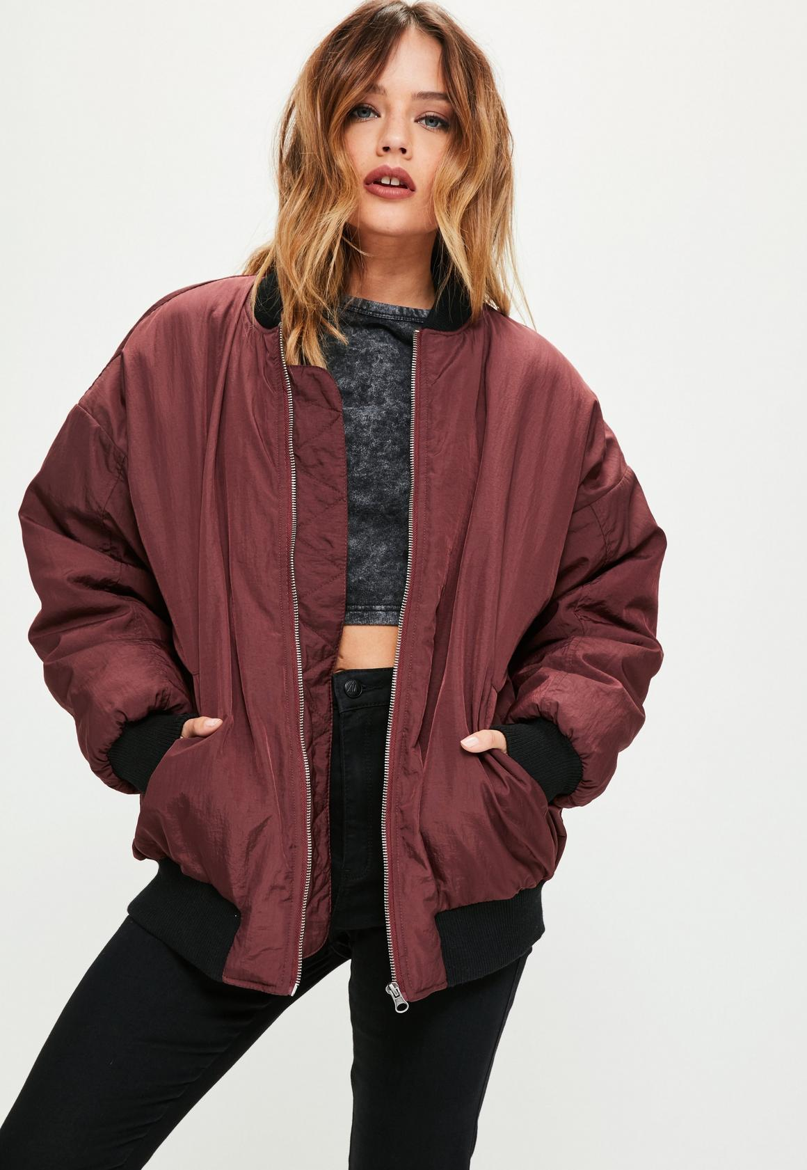 Burgundy Oversized Longline Bomber Jacket | Missguided
