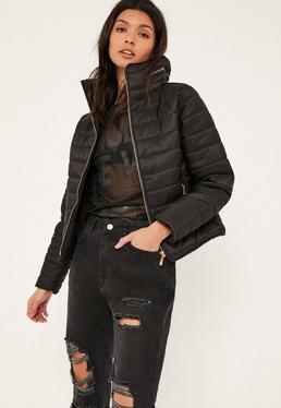 Black Padded Concealed Hood Coat
