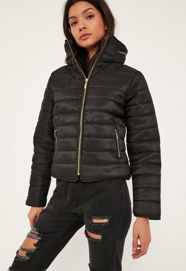 Black Padded Concealed Hood Coat | Missguided