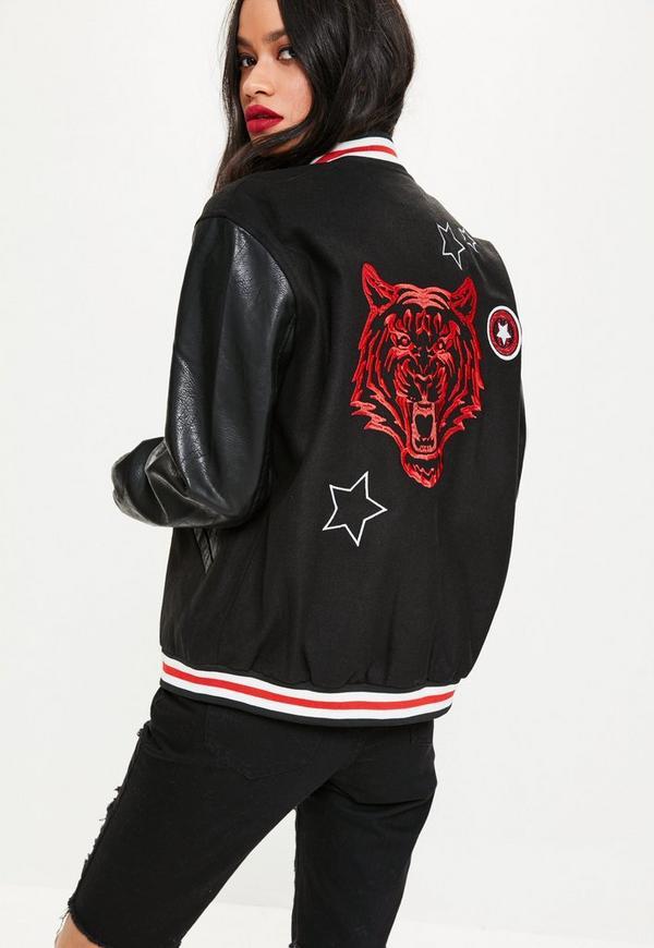 Black Varsity Badge Bomber Jacket | Missguided