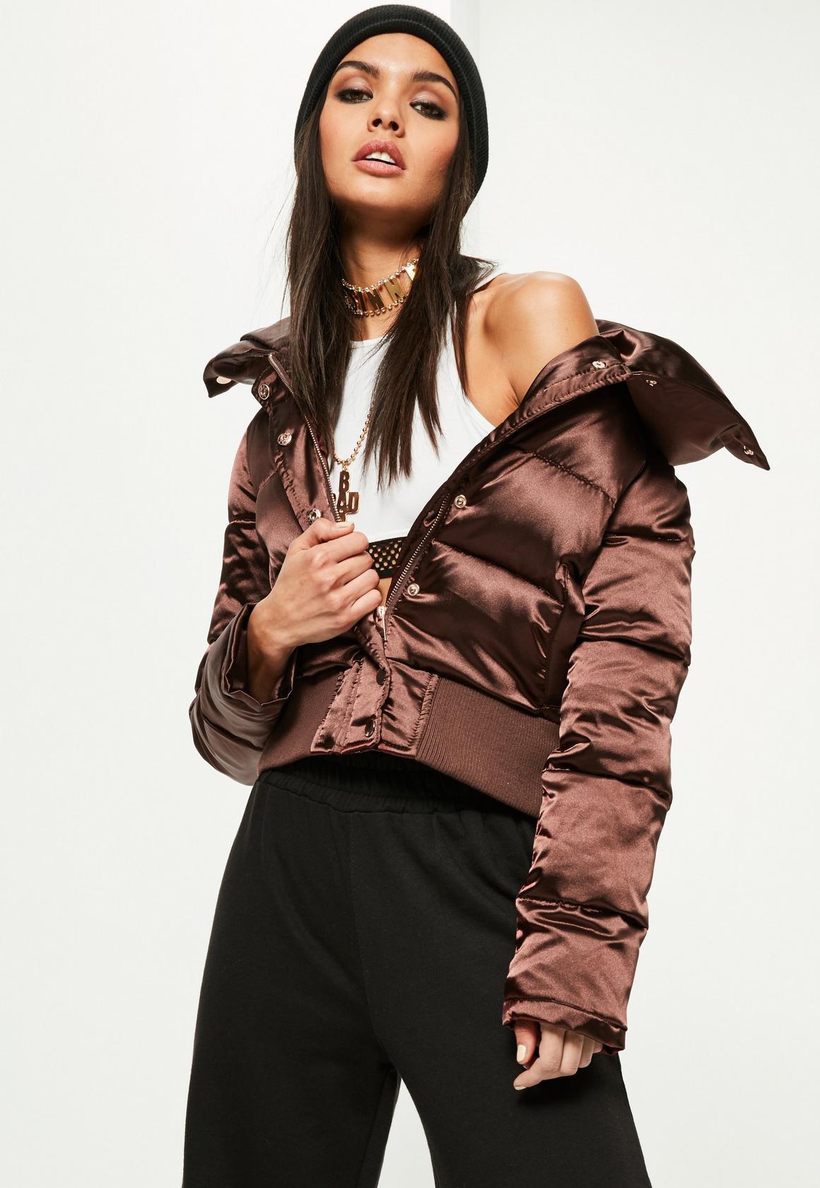 Brown Satin Shiny Short Puffa Jacket - Missguided