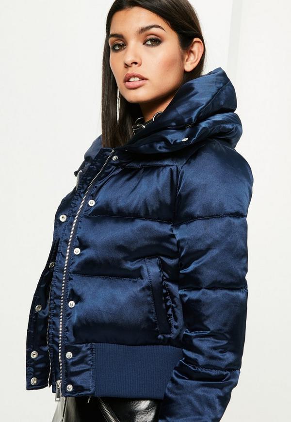 Navy Satin Shiny Short Puffa Jacket - Missguided