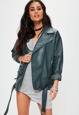 Black Faux Leather Slogan Print Boyfriend Jacket