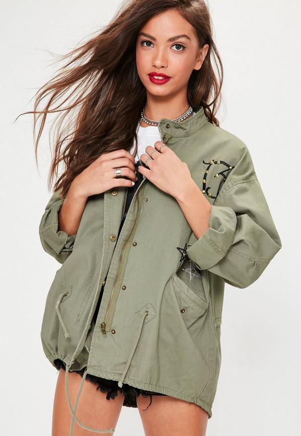 Khaki Badge Details Parka Jacket