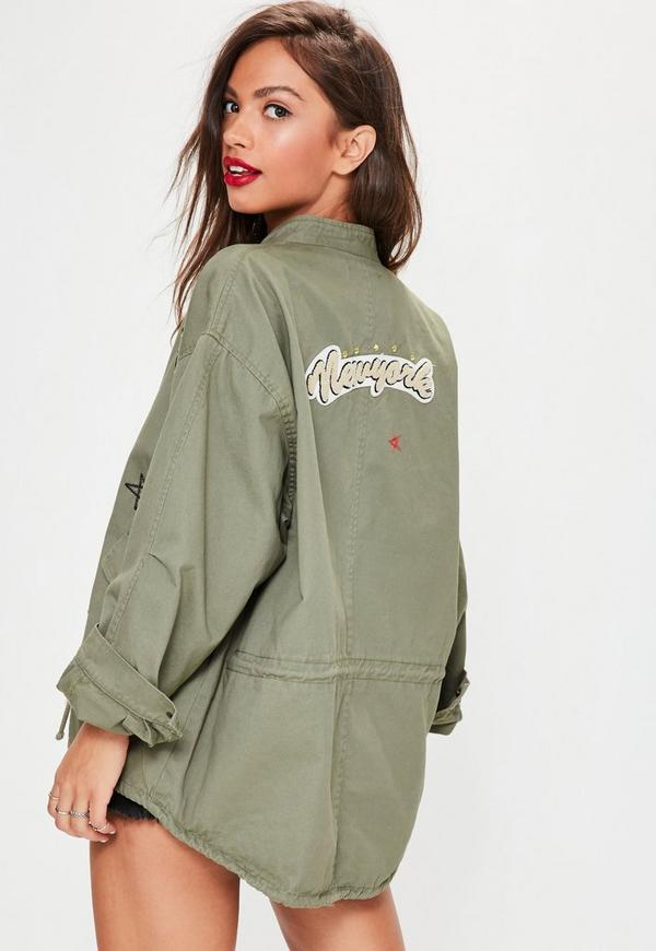 Khaki Badge Details Parka Jacket | Missguided