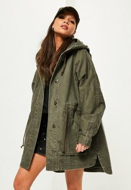 Khaki Washed Effect Utility Parka Coat