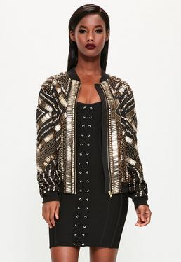 Peace + Love Black Heavily Embellished Bomber Jacket