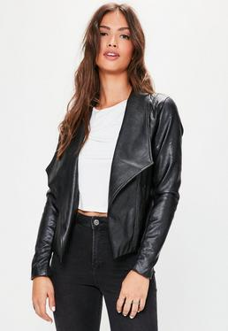 Black Faux Leather Waterfall Biker Jacket