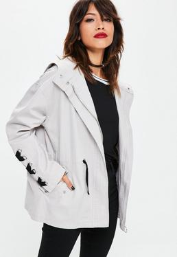 Grey Eyelet Back Parka Jacket
