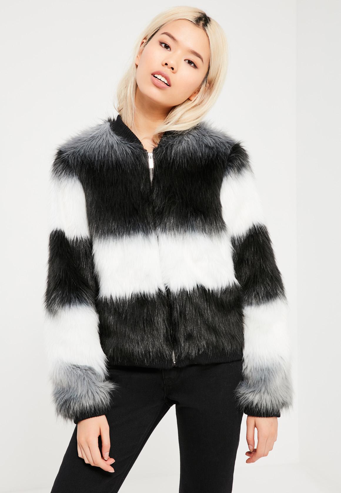 Black Striped Faux Fur Jacket Missguided