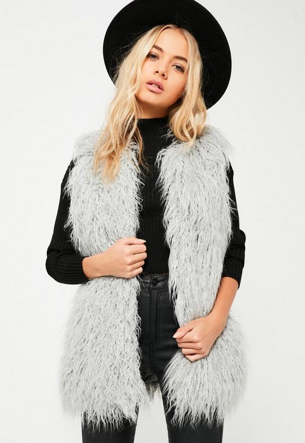 grey faux fur gilet missguided. Black Bedroom Furniture Sets. Home Design Ideas
