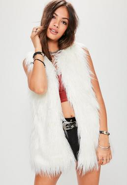 Cream Faux Fur Festival Gilet
