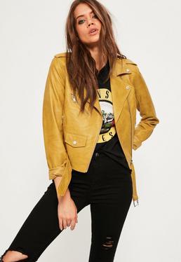 Biker-Jacke aus Kunstleder in Senf Gelb