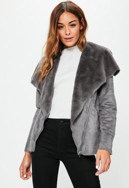 Grey Faux Shearling Waterfall Jacket