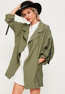Khaki Tape Detail Waterfall Parka Coat