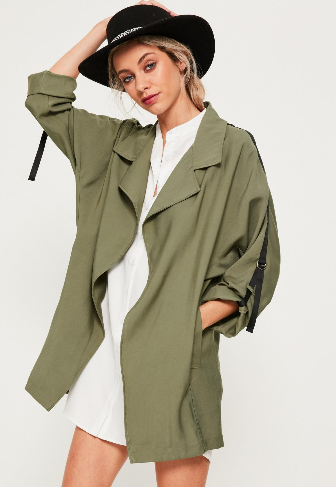 Khaki Tape Detail Waterfall Parka Coat | Missguided