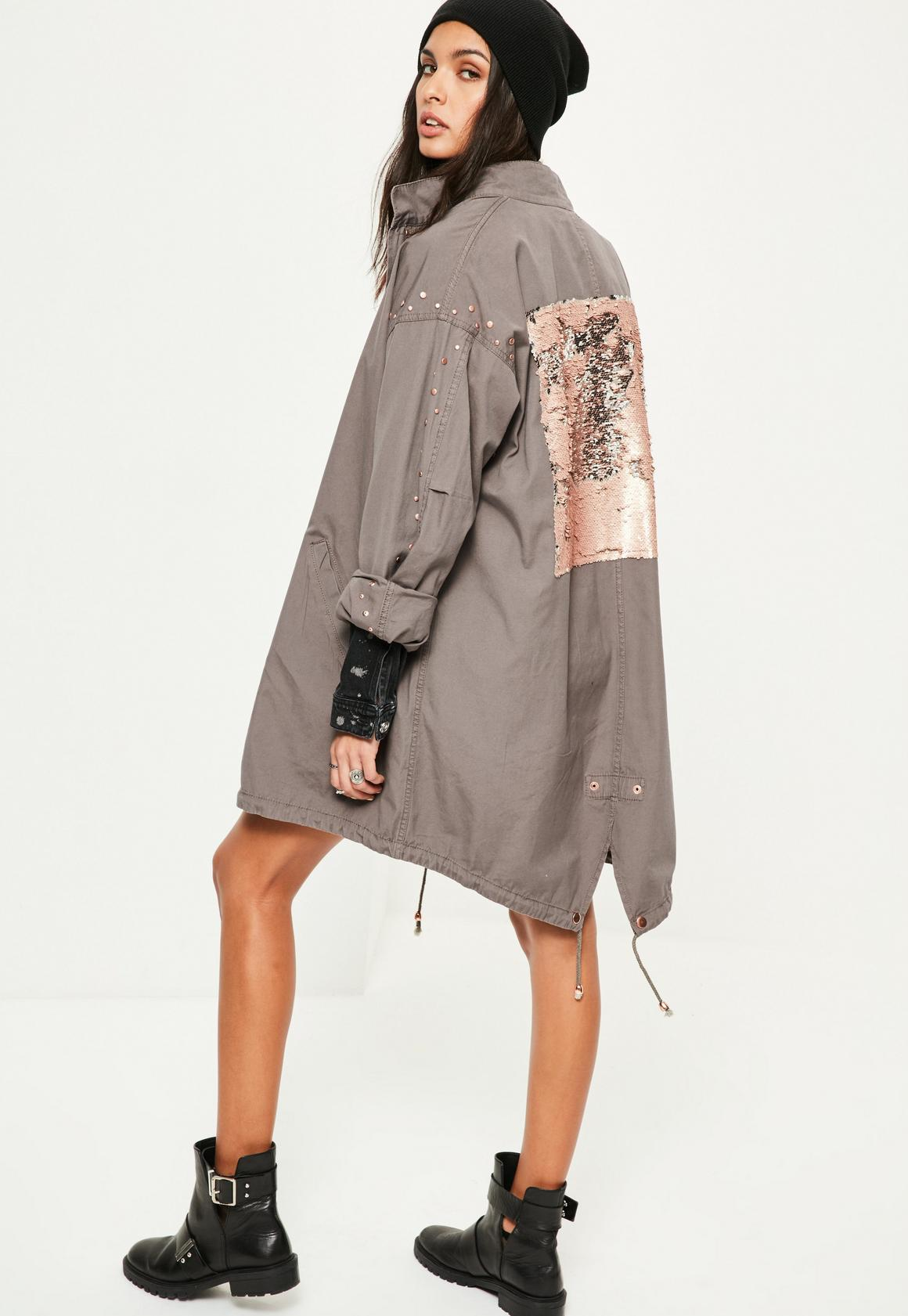 Grey Sequin Back Oversized Parka Coat | Missguided