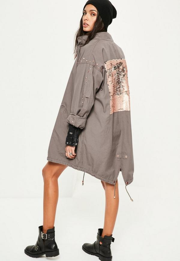 Grey Sequin Back Oversized Parka Coat