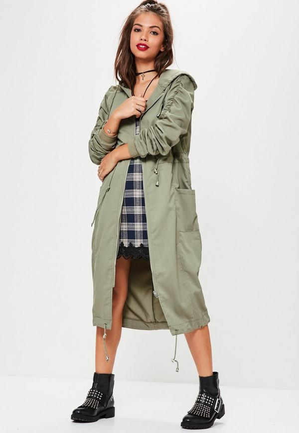 Khaki Ruched Sleeve Longline Parka Coat