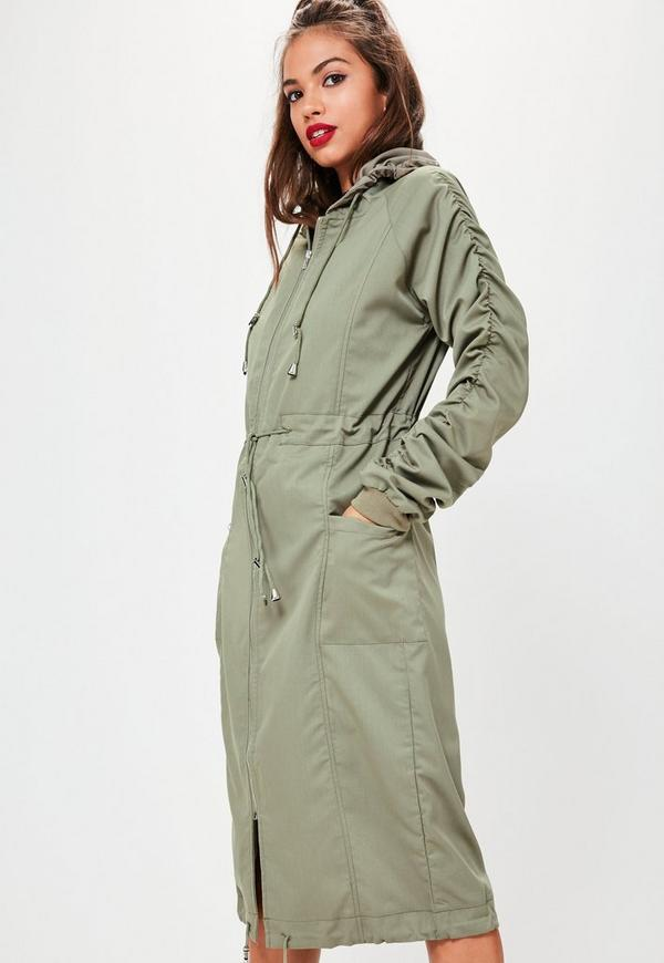 Khaki Ruched Sleeve Longline Parka Coat | Missguided