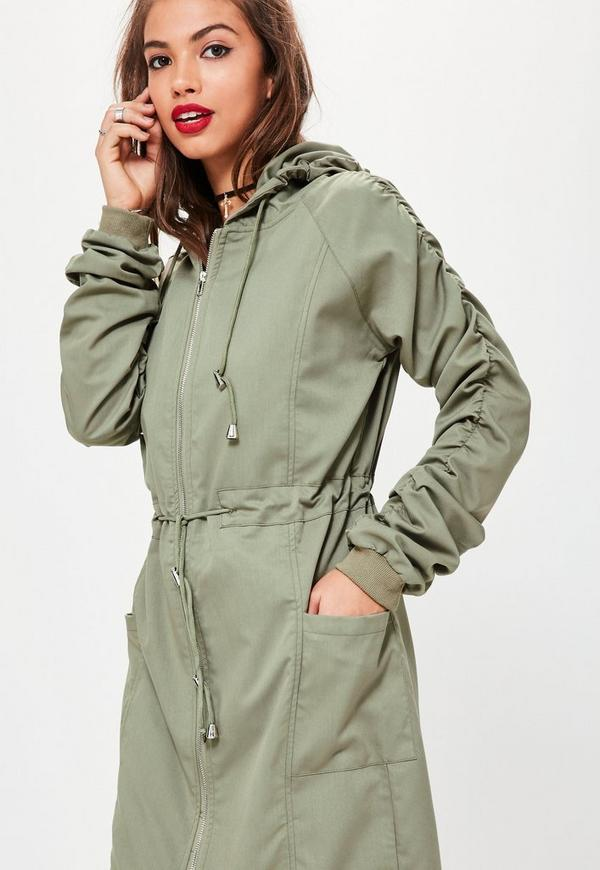 Khaki Ruched Sleeve Longline Parka Coat | Missguided Australia