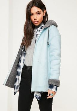 Blue Zip Through Faux Shearling Jacket
