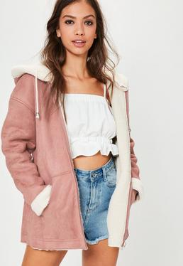 Pink Zip Through Faux Shearling Jacket