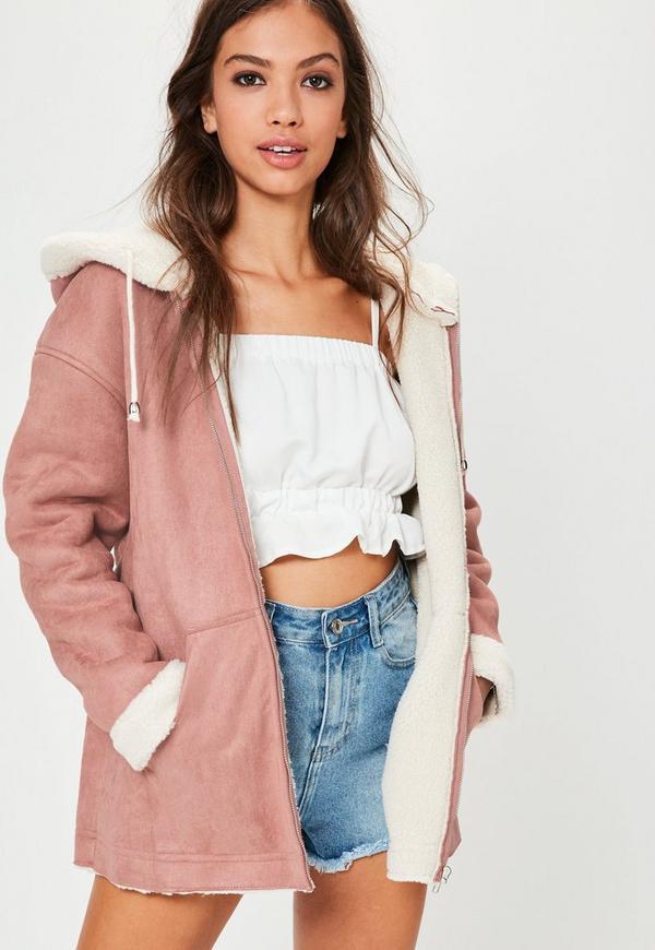 Pink Zip Through Faux Shearling Jacket