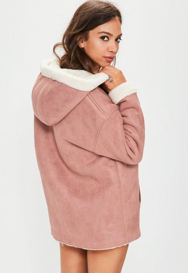 Pink Zip Through Faux Shearling Jacket | Missguided