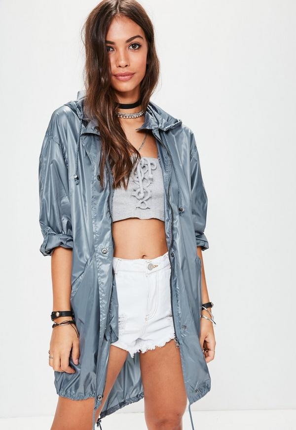 Blue Metallic Festival Rain Mac