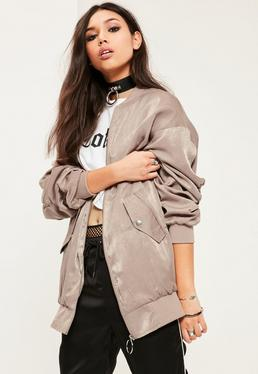 Brown Ruched Back Bomber Jacket