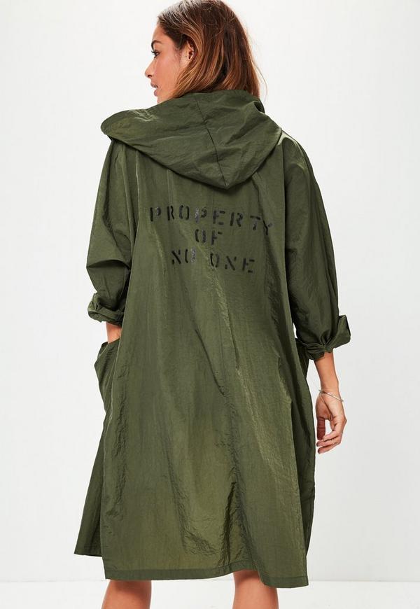 Khaki Oversized Pocket Detail Festival Rain Mac