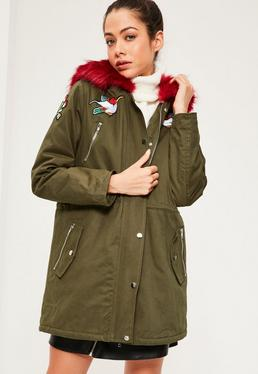 Khaki Hooded Red Faux Fur Trim Parka Coat