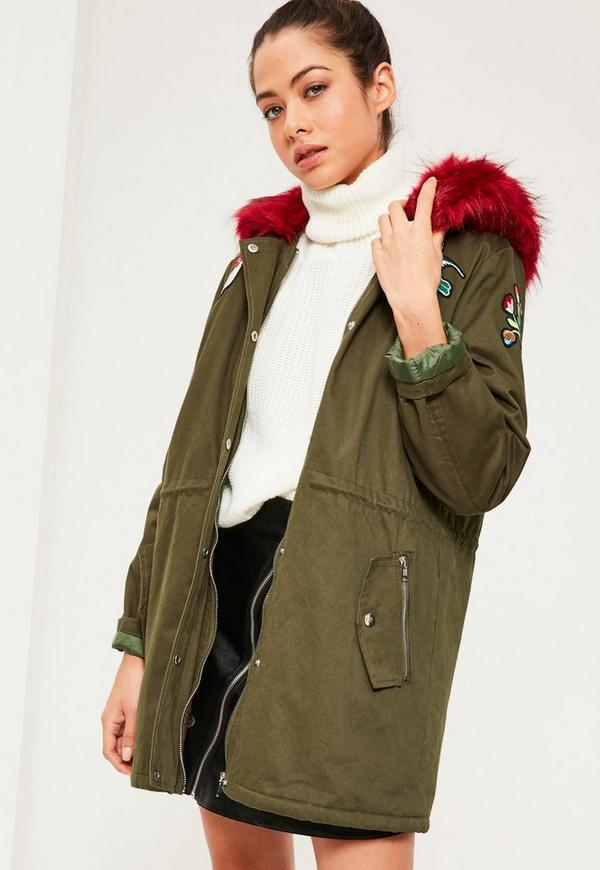 Khaki Hooded Red Faux Fur Trim Parka Coat | Missguided