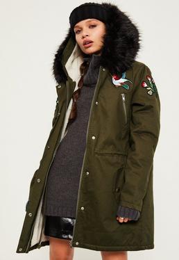 Khaki Hooded Black Faux Fur Trim Parka Coat