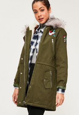 Khaki Hooded Grey Faux Fur Trim Parka Coat