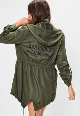 Khaki Slogan Detail Rain Mac Jacket