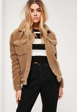 Camel Faux Shearling Trucker Jacket