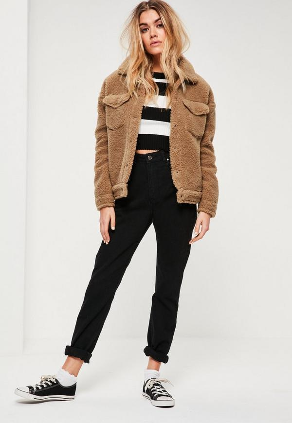 Camel Faux Shearling Trucker Jacket | Missguided