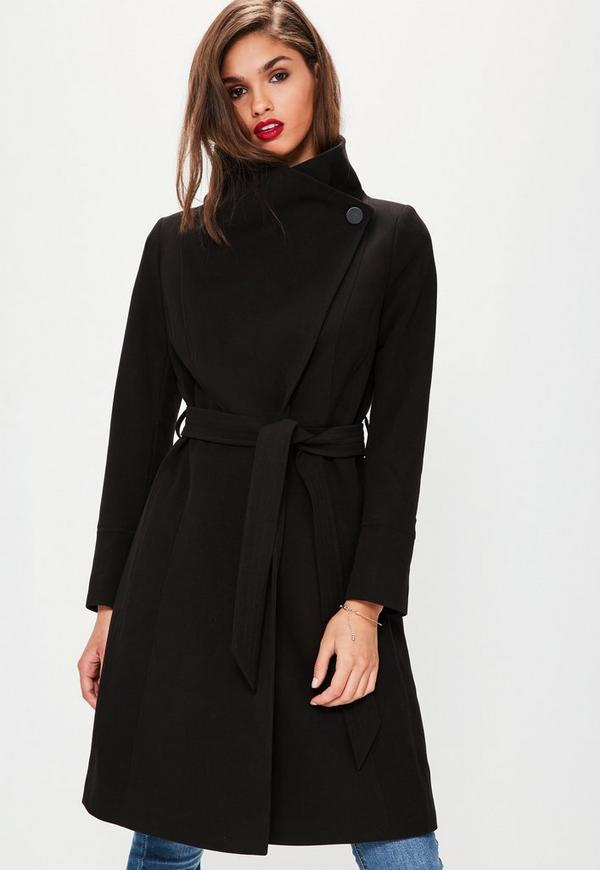 Black Waterfall Belted Funnel Neck Coat