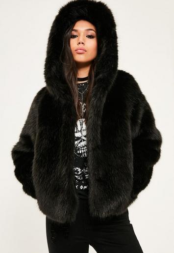Black Hooded Faux Fur Short Coat Missguided