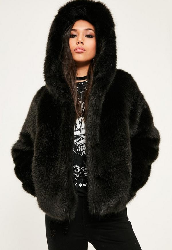 Black Hooded Faux Fur Short Coat
